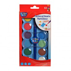 Color & Co - 12 Tempera Discs & Brush